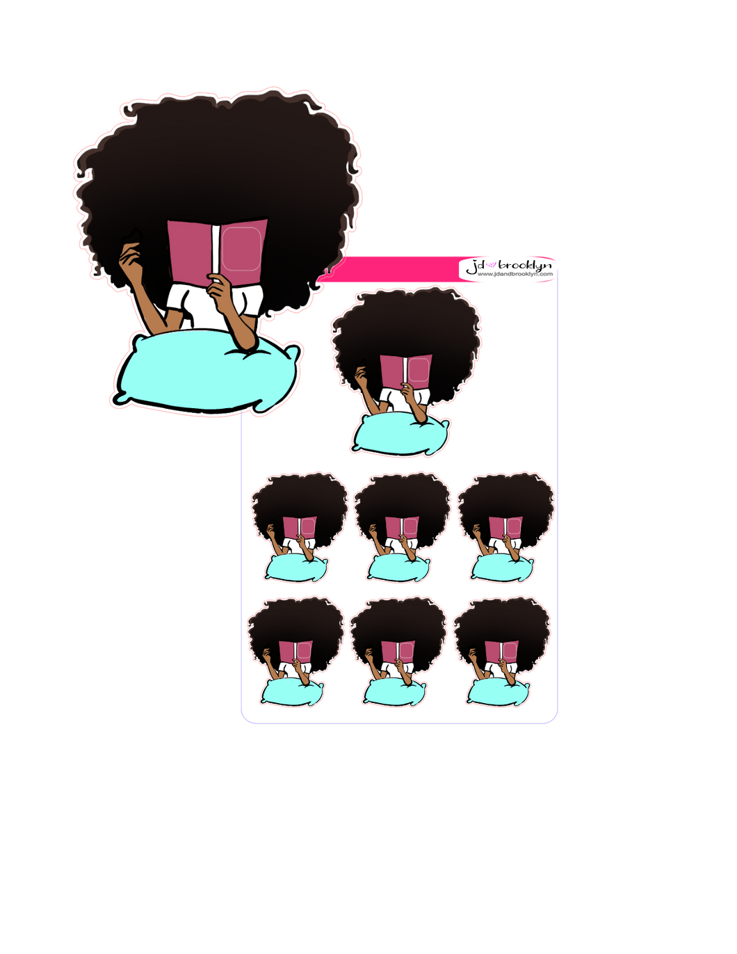 Big hair with Face in Book