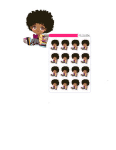 Doll reading books chibi style sticker sheet