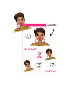 Breast Cancer Awareness short hair/pixie cut doll