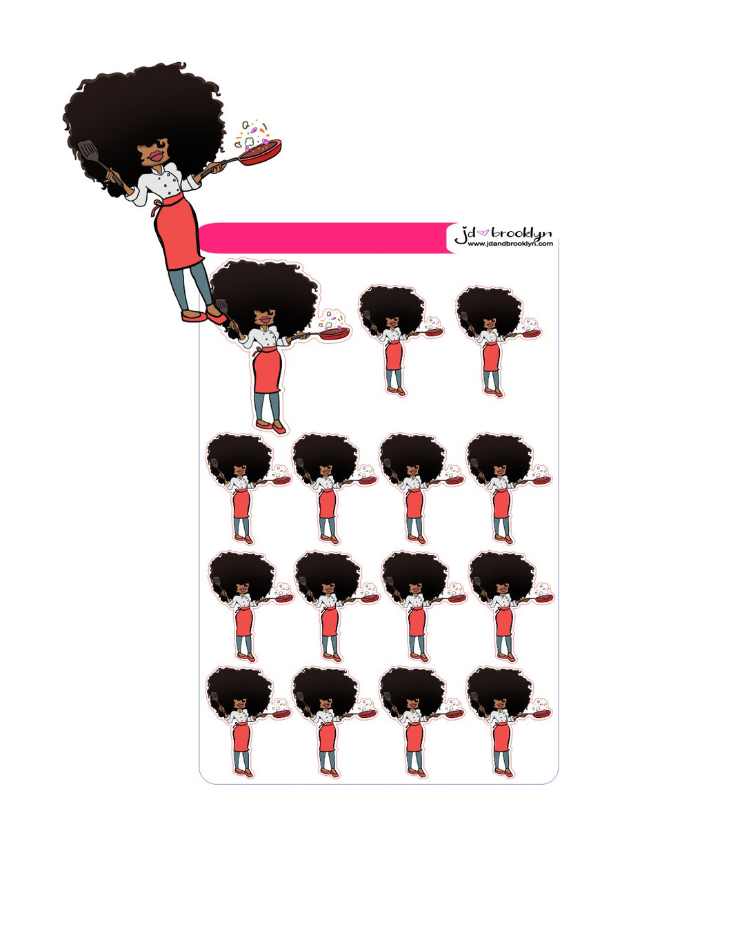 Big Hair Doll Series 2: Chef Sticker sheet or die cuts