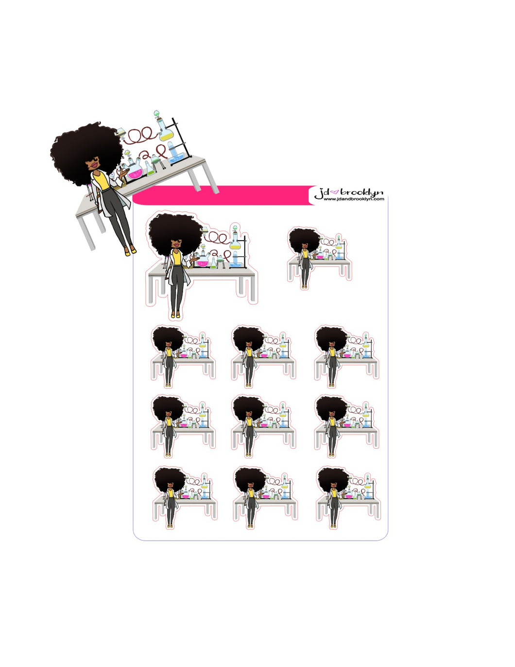 Big Hair Doll Series 2: Chemist/Biology Sticker sheet or die cuts