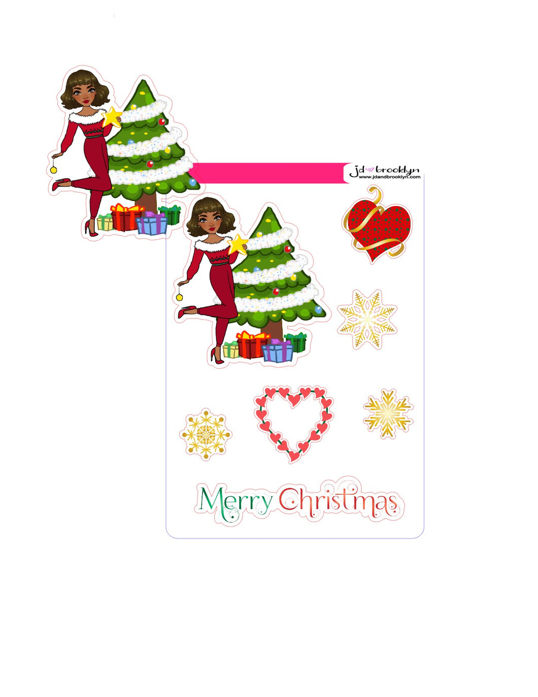 Holiday Christmas Doll stickers or die cuts