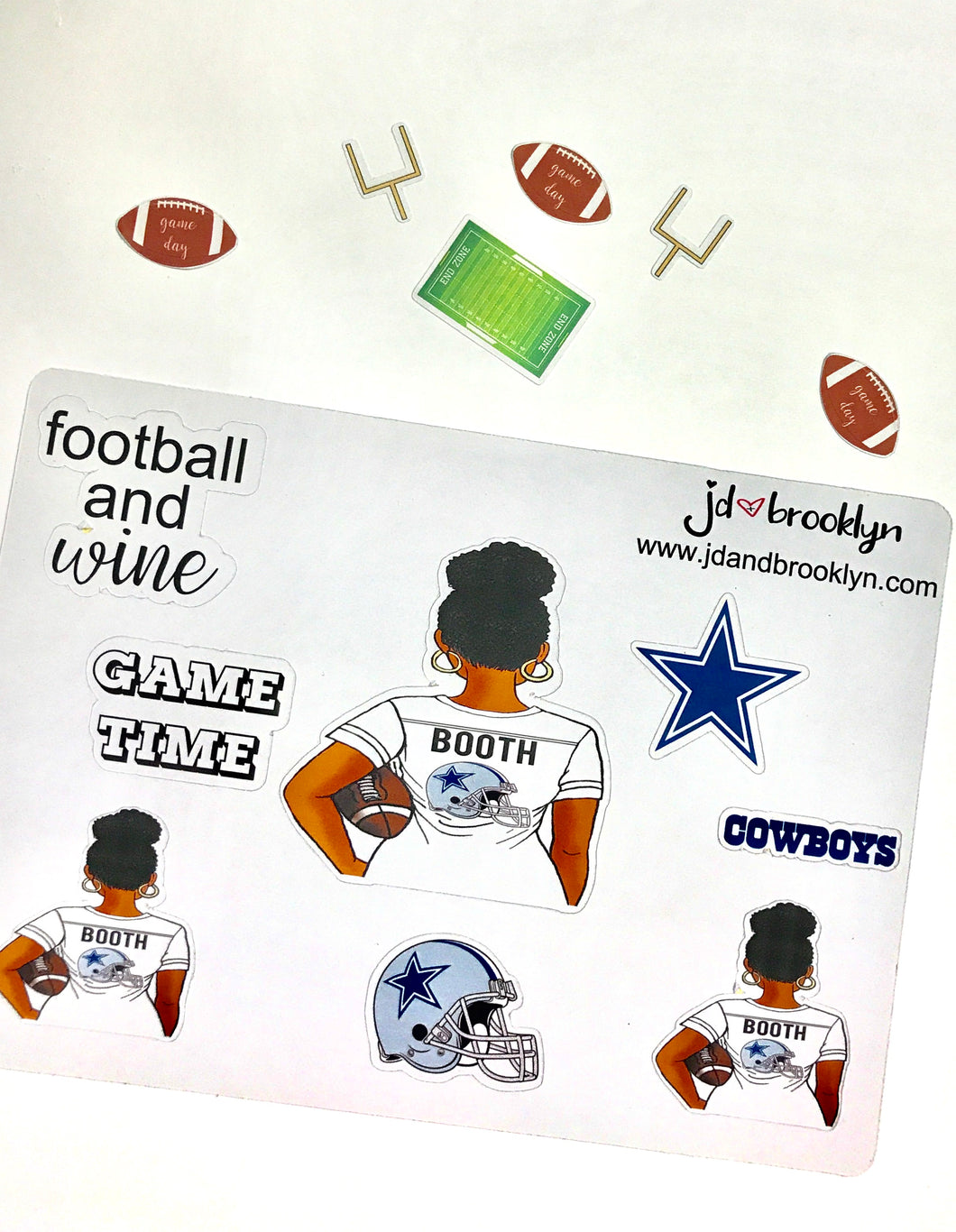 Custom NFL Football Girl Sticker Sheet
