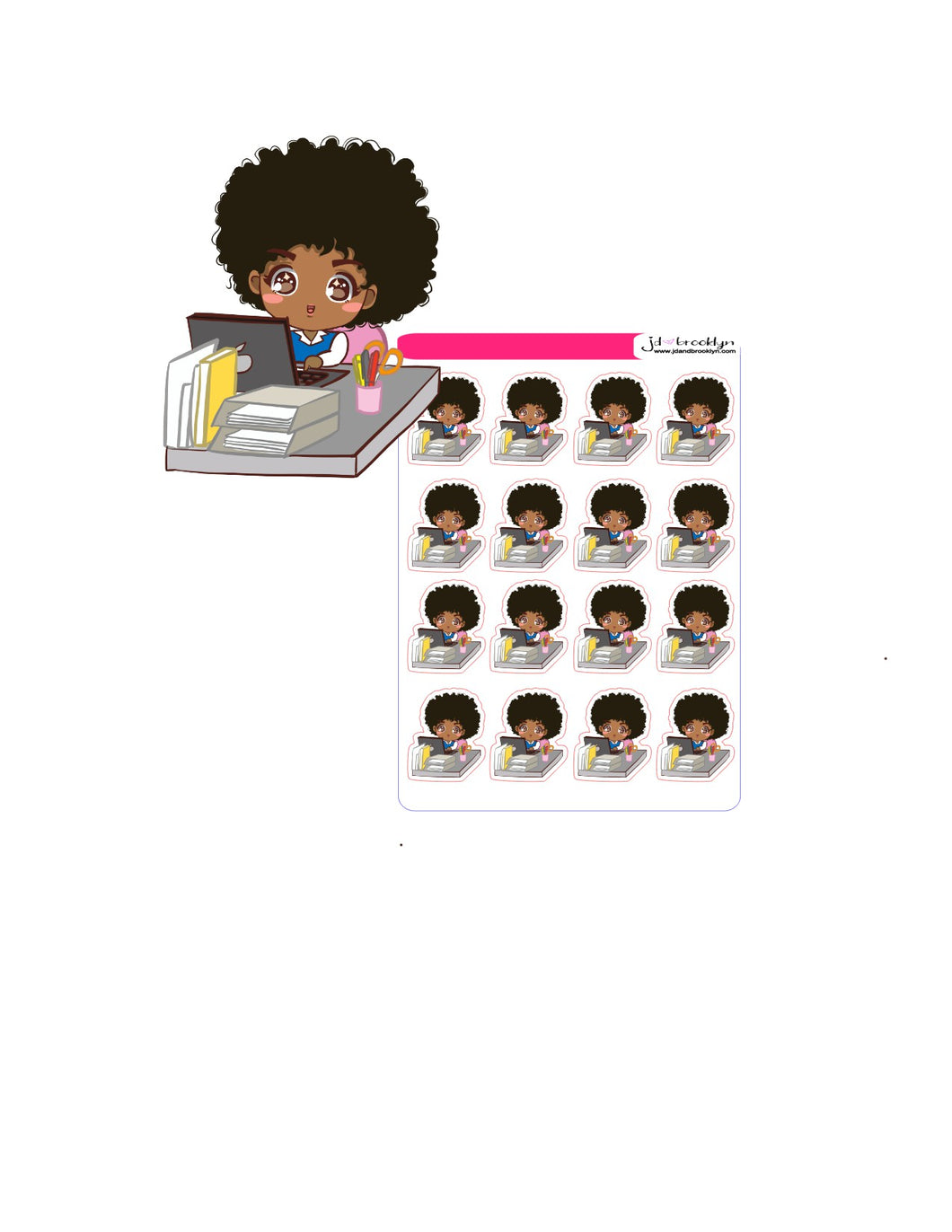Doll sitting at desk with laptop chibi style sticker sheet