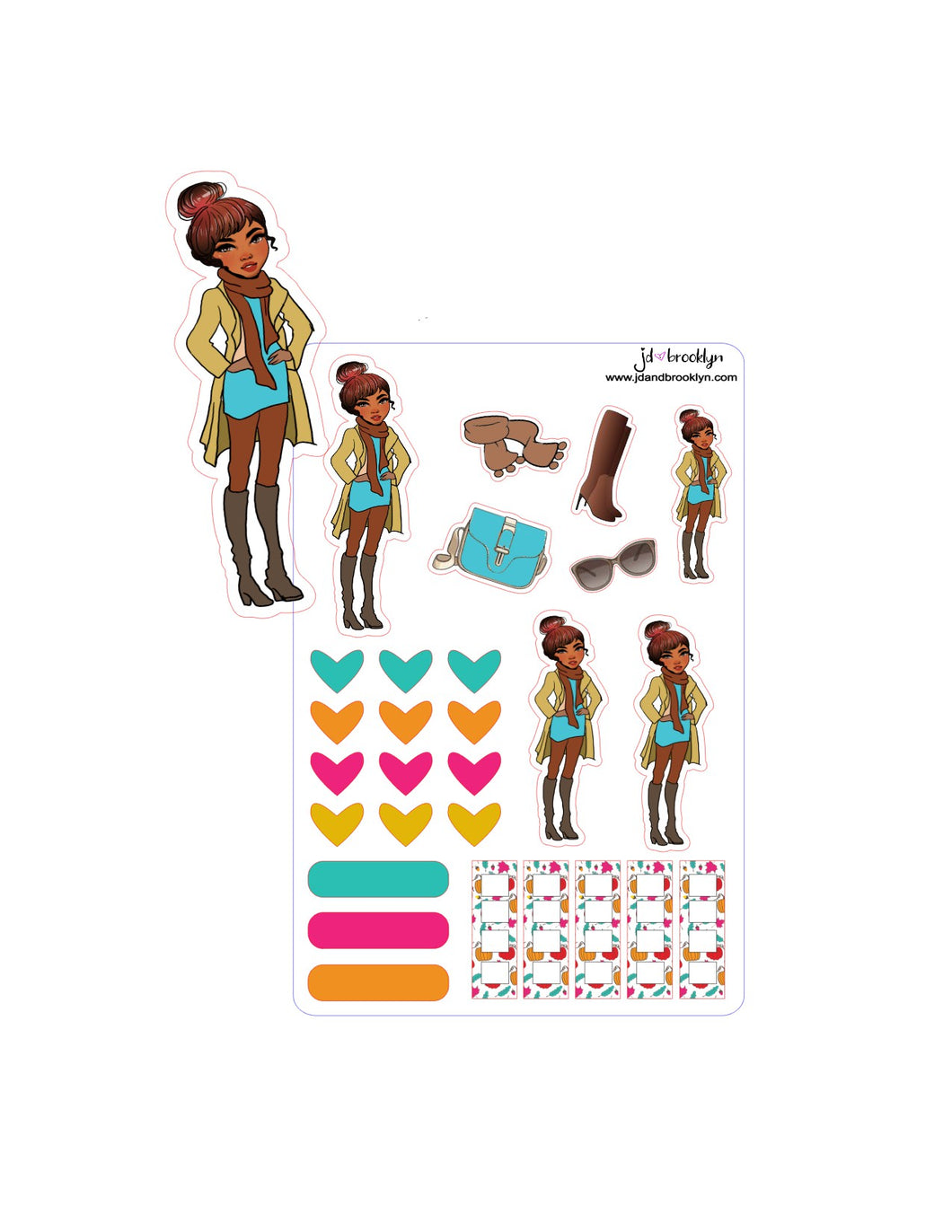 Fall Doll-Bun hair style sticker sheet or die cut.