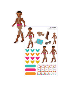 Fall Doll-Short afro sticker sheet or die cut