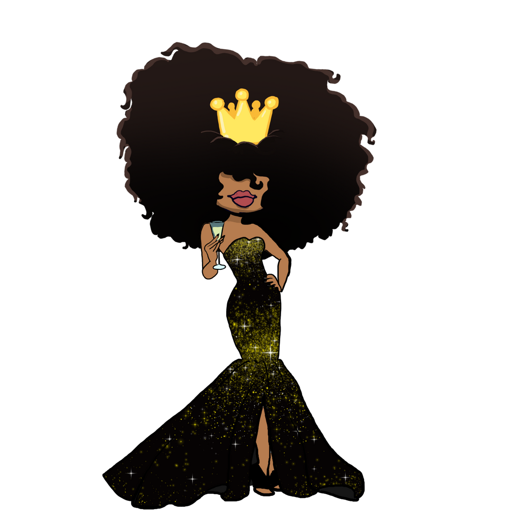 DIGITAL ITEM:  Big Hair Wearing a crown full body