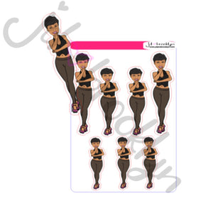 Short hair big style doll standing sticker sheet or die cut