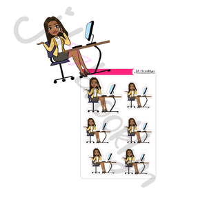 Business lady at desk sticker sheet or die cut