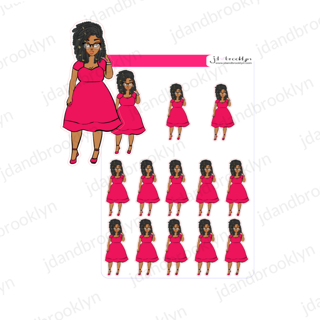 Locs hairstyle 2020 Spring doll hot pink  dress