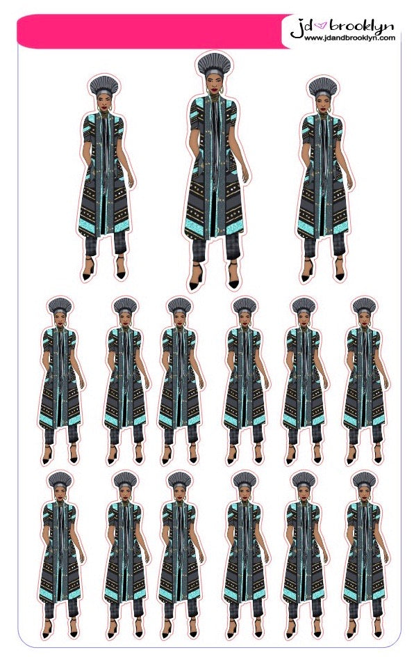 Wakanda themed doll: teal and black outfit