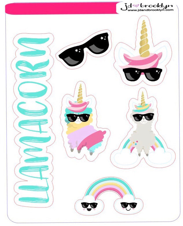 Llamacorn characters themed sticker sheets