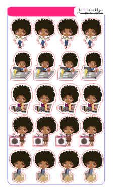 Doll Sampler 1 chibi style sticker sheet