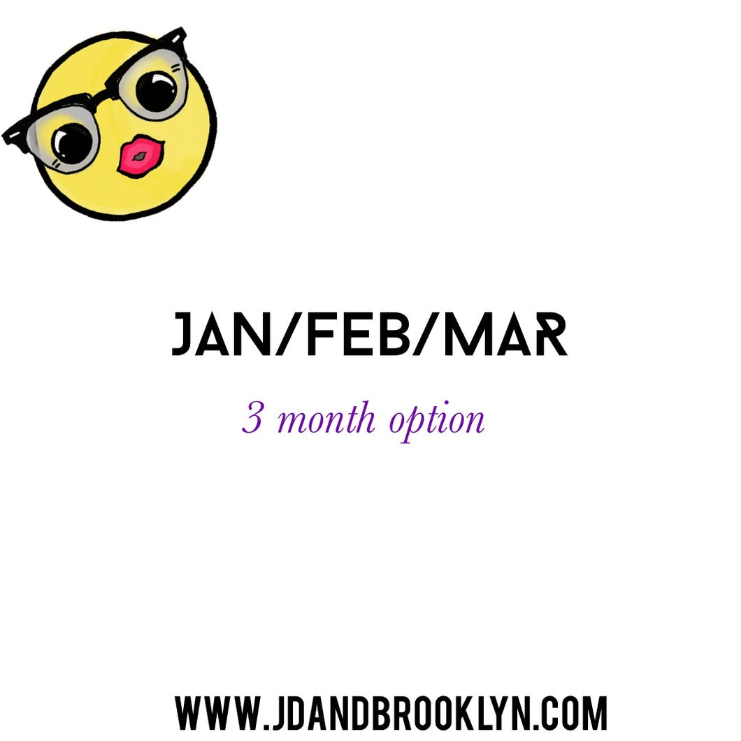 3 months (January/February/March) Sticker Pack
