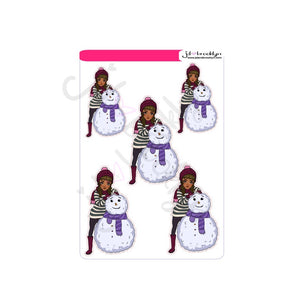 Cute doll with snowman sticker sheet or die cuts