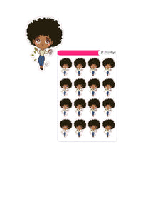 Doll throwing money and paper chibi style sticker sheet