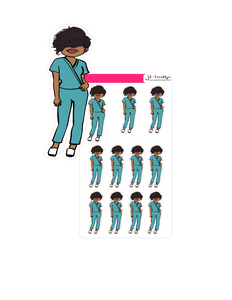 Bella doll nurse wearing scrubs
