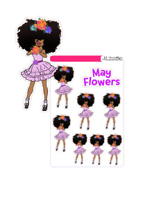Big hair May Flowers doll holding flowers