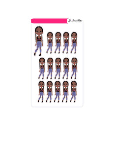 Braids doll (doll only)Sticker Sheet or die cuts