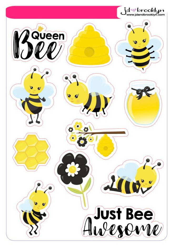 Bee character themed sticker sheet
