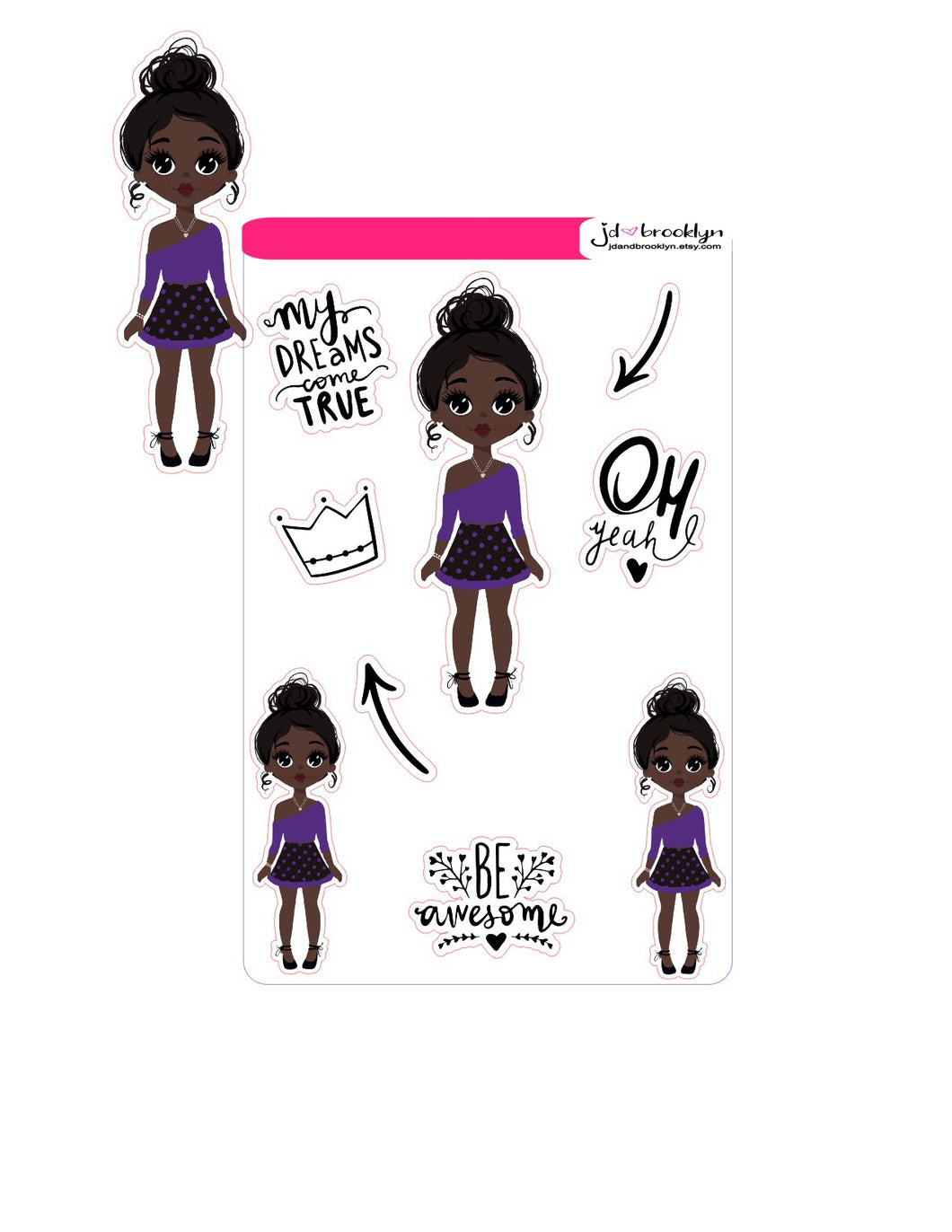 Polka dot skirt(doll +graphic) Sticker Sheet or die cuts