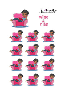 Wine and plan Doll Sticker Sheet or die cuts