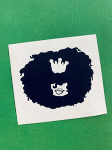 Vinyl Decal of Big Hair with a crown