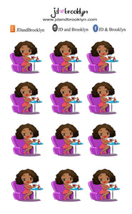 Drinking wine chibi Doll Sticker Sheet
