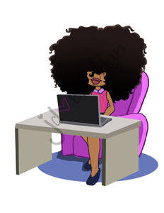 DIGITAL ITEM:  Big Hair working on laptop