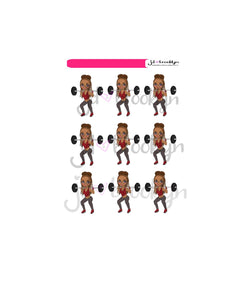 Fitness: lifting weights Doll Sticker Sheet or die cuts