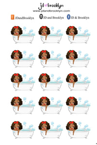 Taking a bath chibi Doll Sticker Sheet
