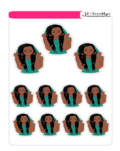 Girl wtih locs wearing a hoodie sticker sheet or die cuts