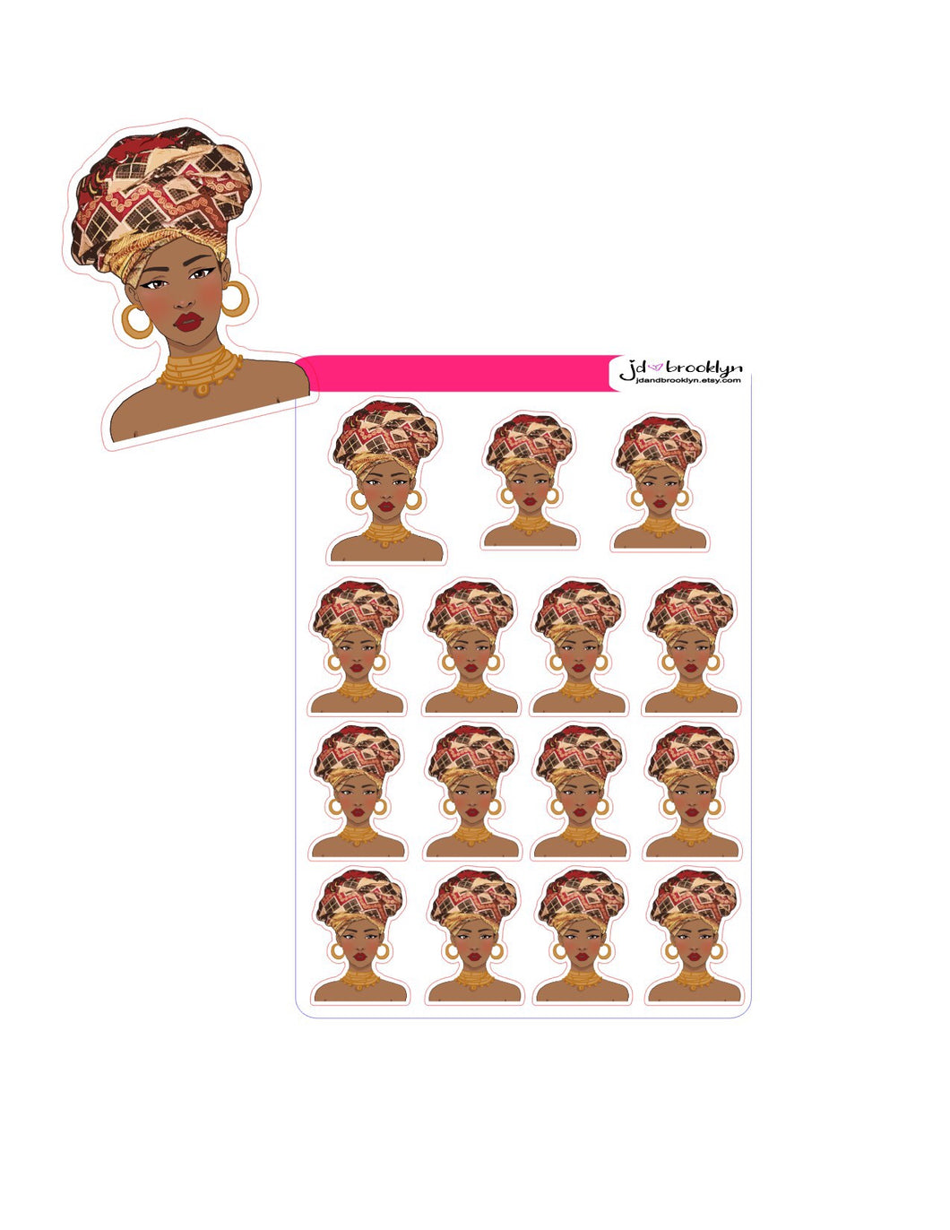 Women with African print headwrap Doll sticker sheet or die cuts