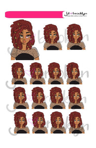 Girl with locs hairstyle doll sheet or die cuts