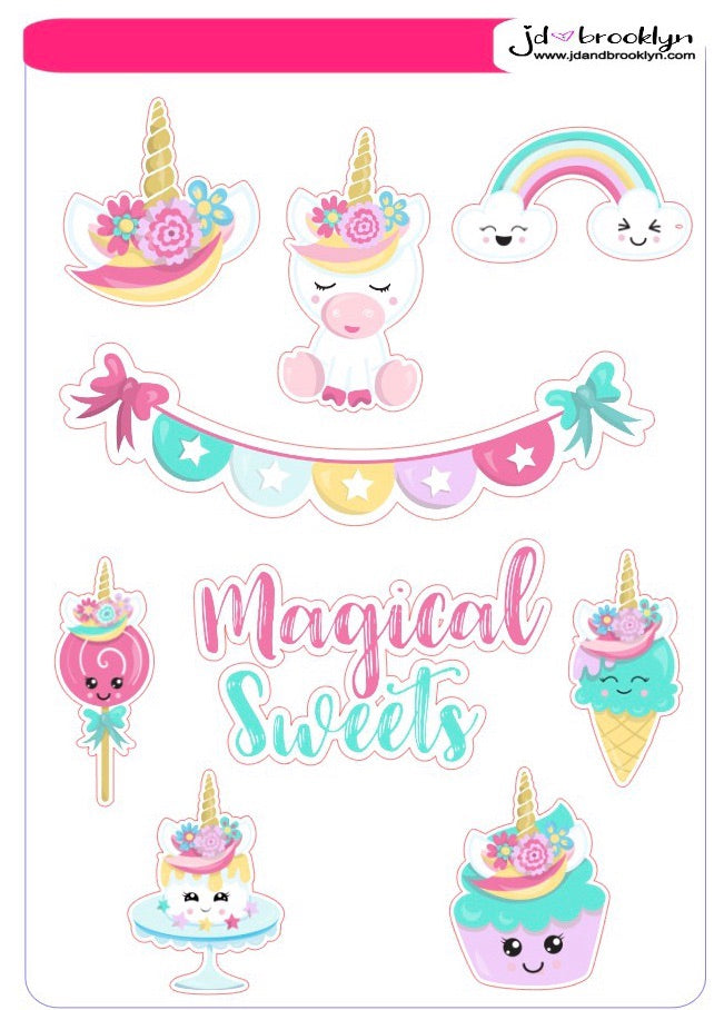 Unicorn character themed sticker sheet