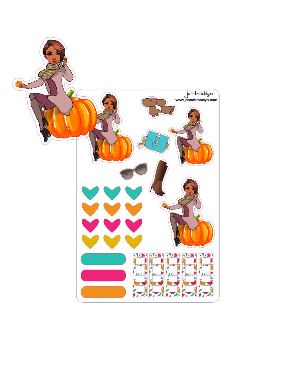 Fall doll-Sitting on pumpkin style sticker sheet or die cut.