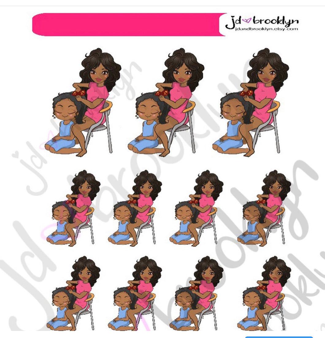 Mom doing daughters hair sticker sheet or die cuts
