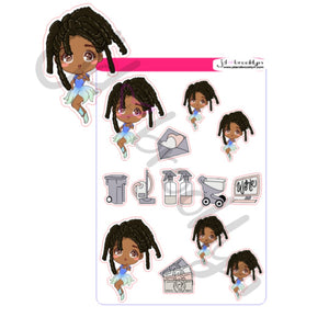 Chibi doll with locs hairstyle sticker sheet or die cuts