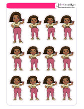 Curvy chibi doll taking a selfie sticker sheet or die cuts