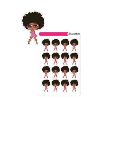 Doll wearing sunglasses chibi style sticker sheet