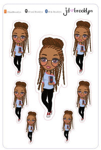Planner girl with locs doll sticker sheet or die cuts