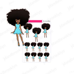 Big hair 2020 Spring Doll Teal Dress