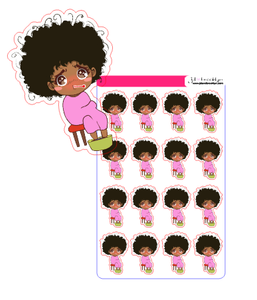 Doll sitting in chair sick chibi style sticker sheet
