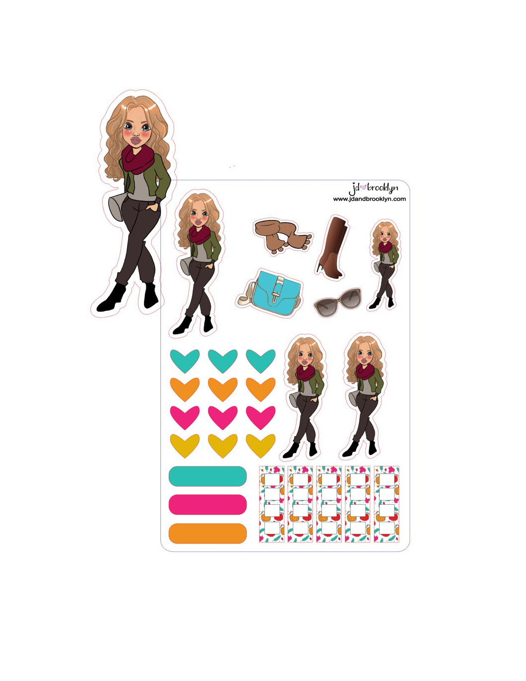Fall doll-Long hair style sticker sheet or die cut.