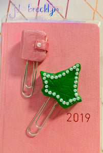Polymer Clay Planner Clips-Ivy Leaf and or TN
