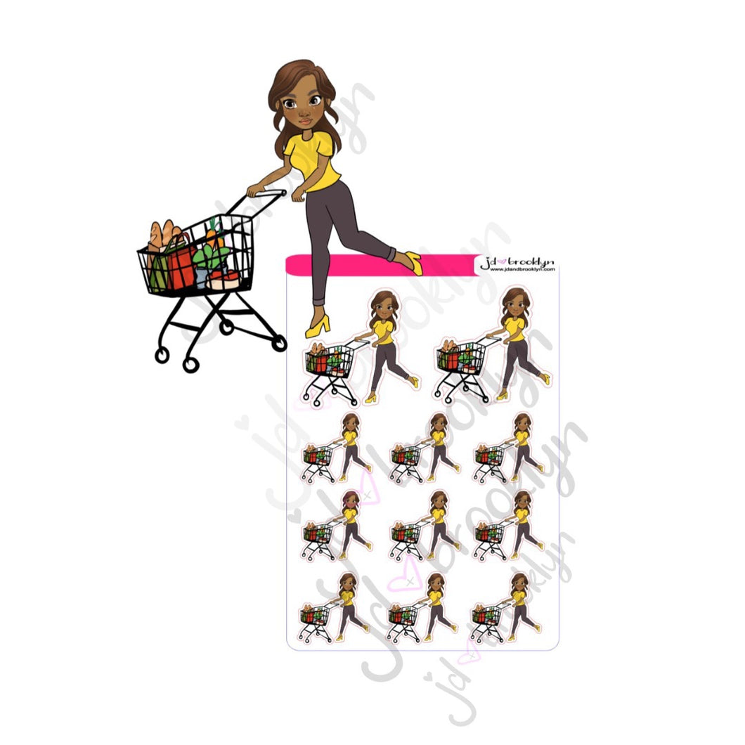 Lady shopping for groceries sticker sheet or die cut