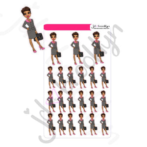 Short hair/pixie cut holding briefcase Doll Sticker Sheet or die cuts