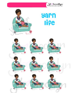 Yarn Life girl crocheting or knitting sticker sheet or die cuts