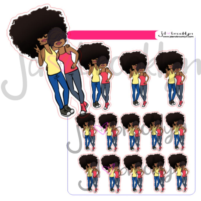 Big Hair & Bella hanging out Sticker Sheet or Die Cuts