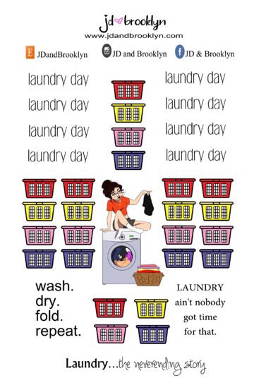 Laundry Day(sitting on machine+graphic)Doll Sticker Sheet or die cuts